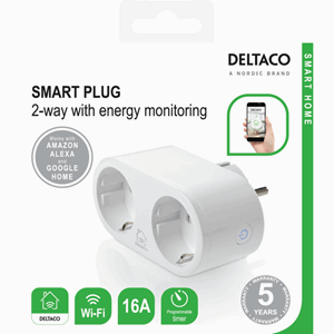 Deltaco Smart Home 2 way-outlet smart plug Energy monitoring