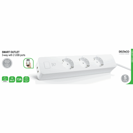 Deltaco Smart Home 3 way outlet with 2 USB ports