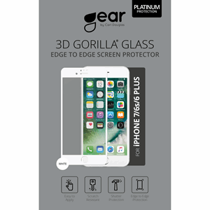 GEAR Herdet Glass Gorilla iPhone6/7/8 Plus Full Fit Hvit
