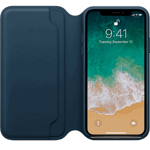 Apple Skinnfolio iPhone X, Kosmosblå
