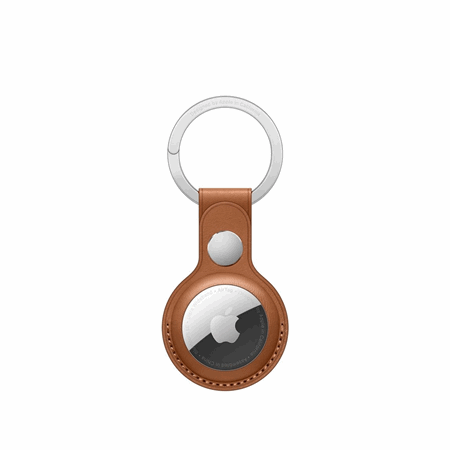 AirTag Leather Key Ring - lærbrun